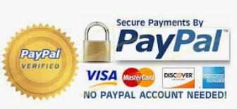 Processed by PayPal: Visa/MasterCard, Amex, Discover